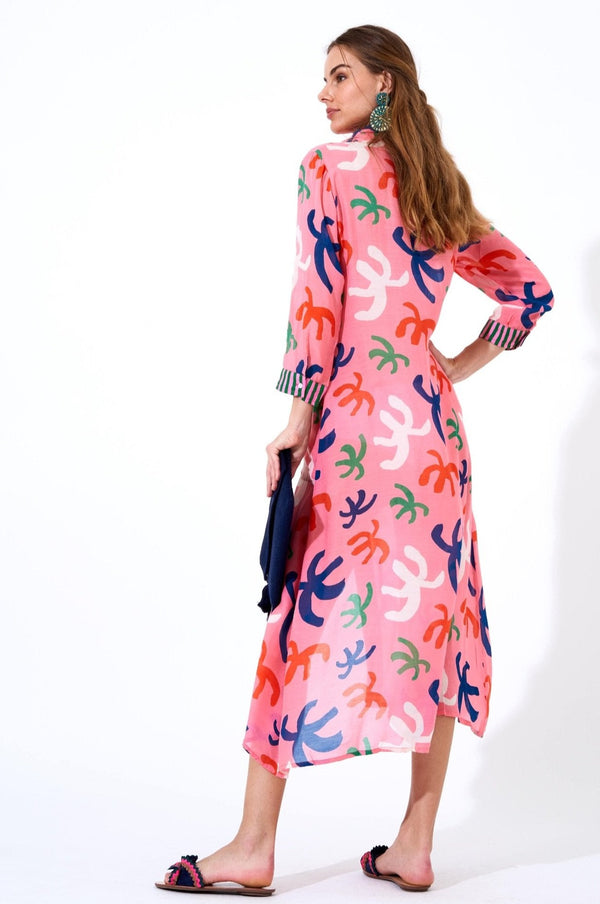Shirt Dress Maxi- Cozumel Pink