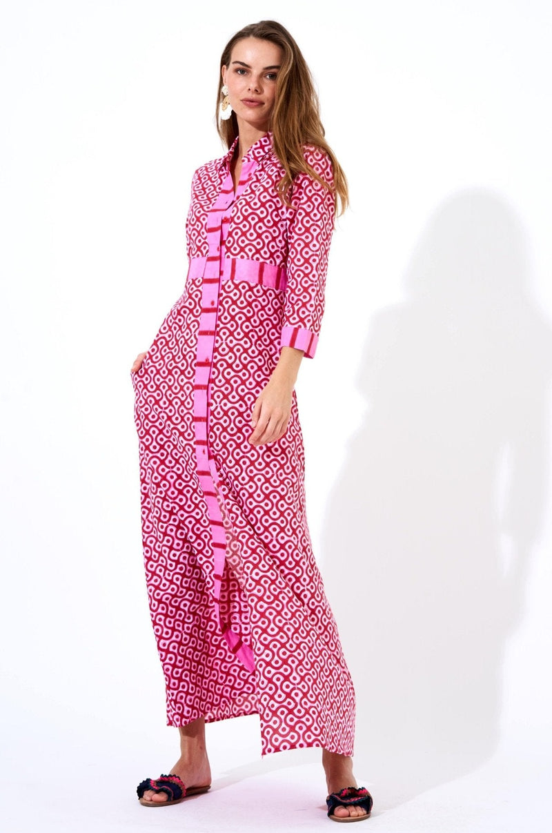 Shirt Dress Maxi- Tetris Red