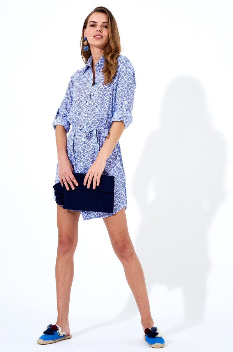 Shirt Dress- Tetris Blue