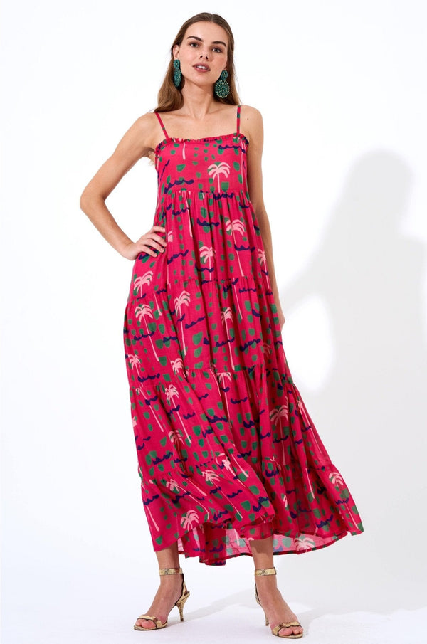 Smocked Back Maxi- Ipanema Pink