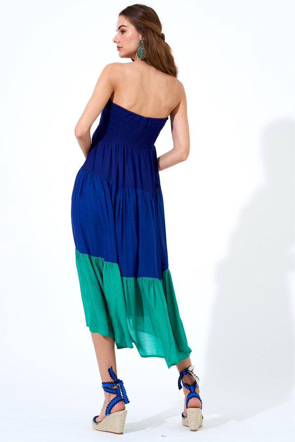 Smocked Skirt Dress- Colorblock Navy/Green