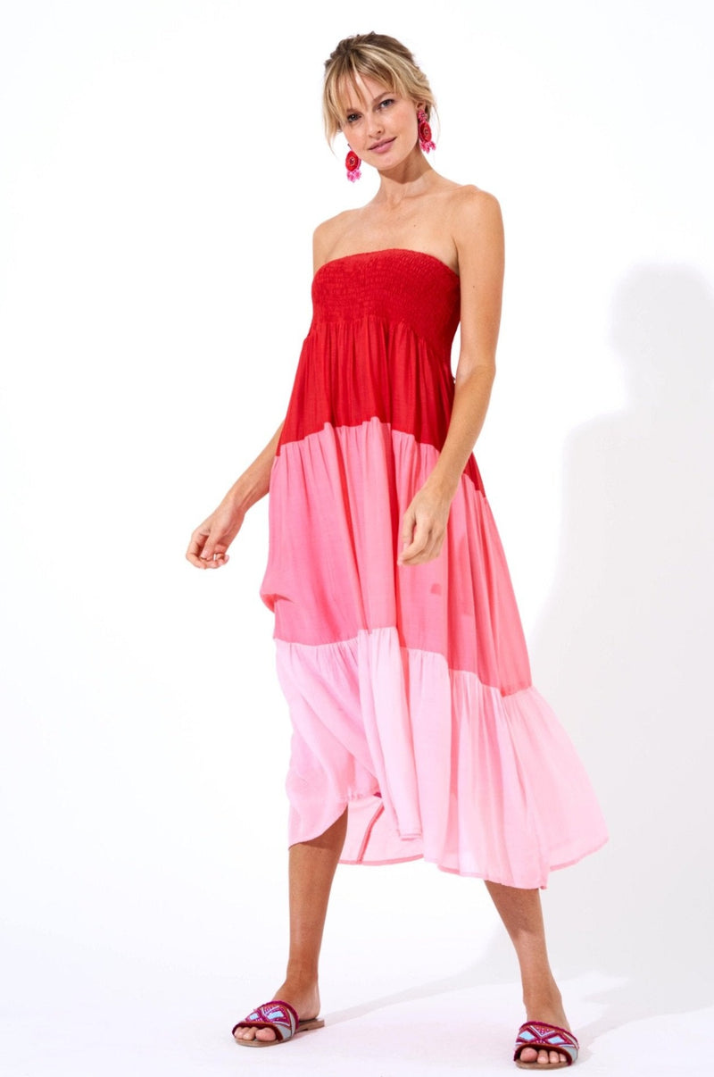 Smocked Skirt Dress- Colorblock Pink/Red