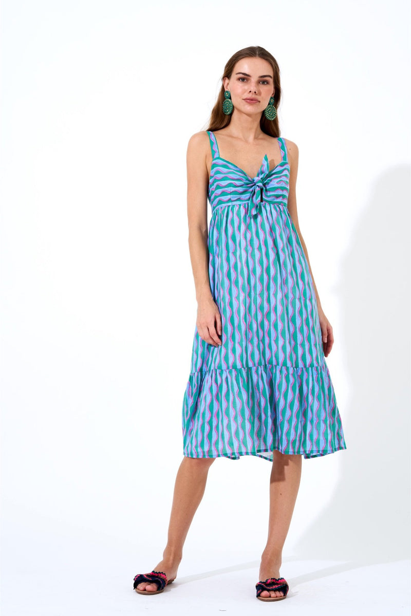 Tie Front Dress- Marimba Green