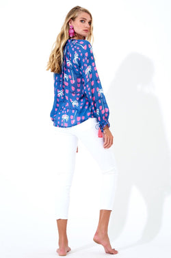 Tie Neck Tie Sleeve- Ipanema Blue
