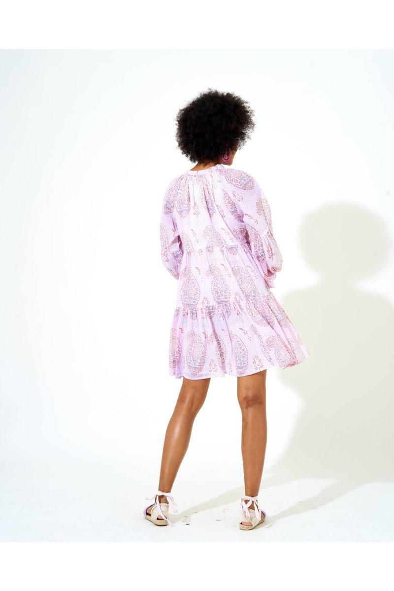 Balloon Sleeve Short Dress- Samode Lavender