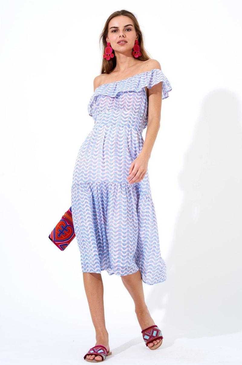 Ruffle Neck Midi Dress- Snapdragon Blue