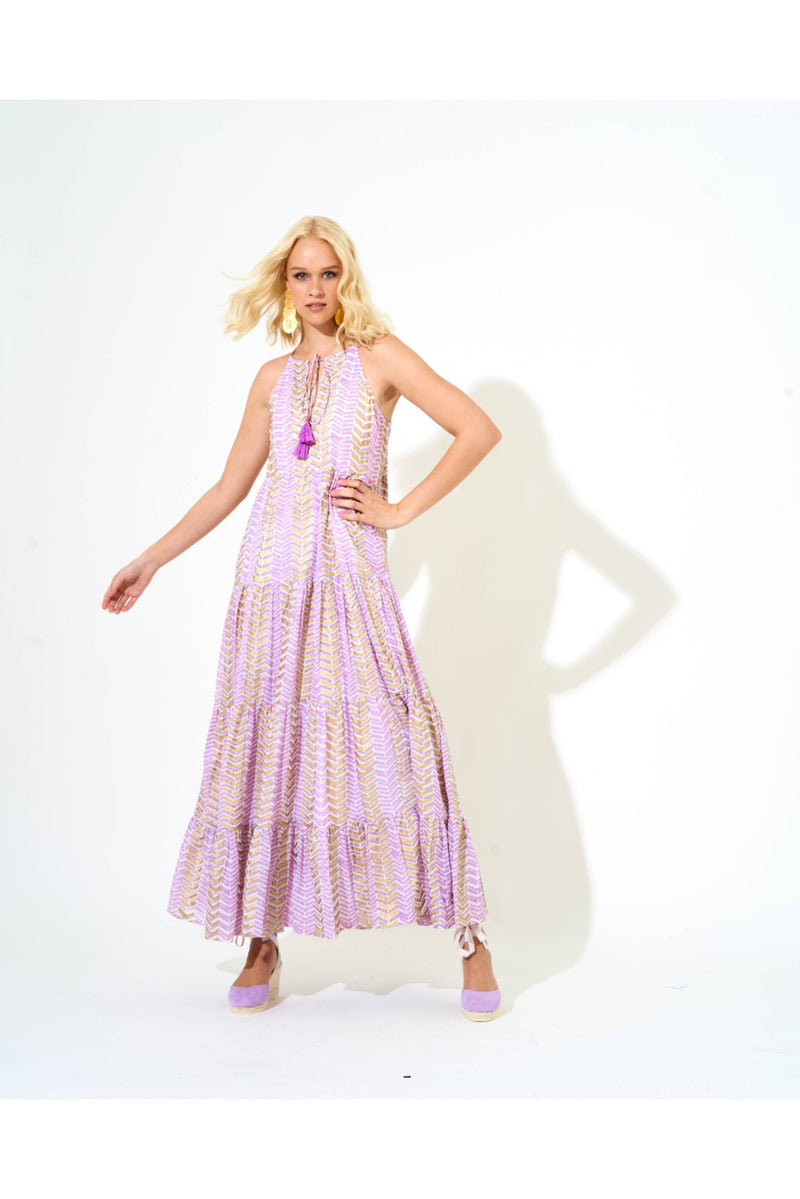 Long Tiered Tassel Dress- Sonoma Lilac