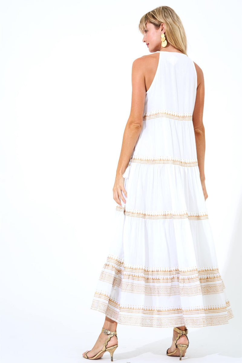 Long Tiered Tassel Dress- Tata White Gold