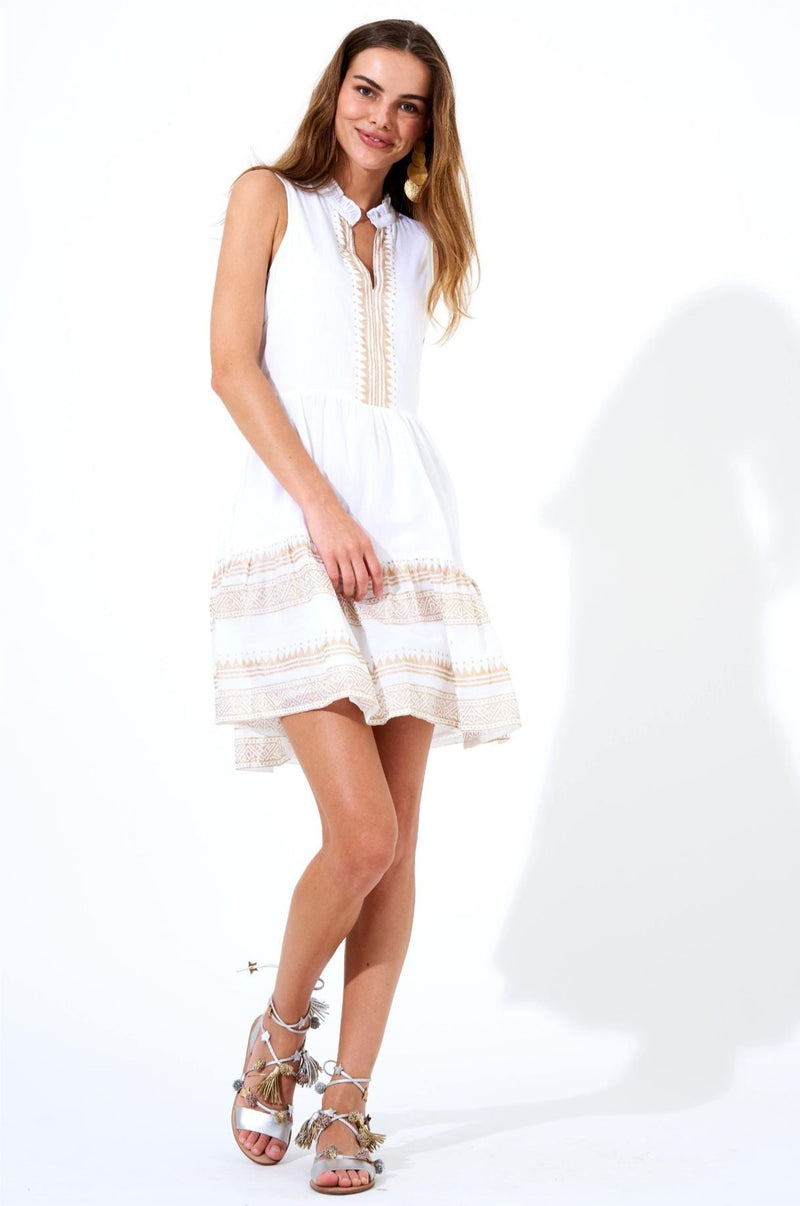 Yoke Dress- Tata White Gold