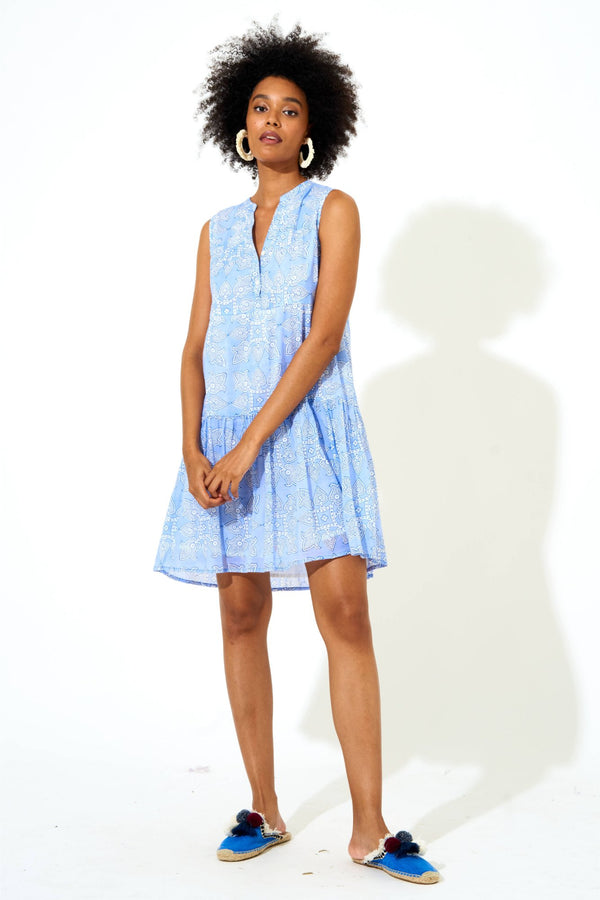 Button Neck Dress- Tigerlily Blue