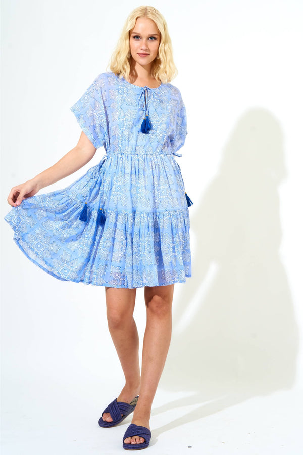 Side Tie Tassel Dress- Tigerlily Blue