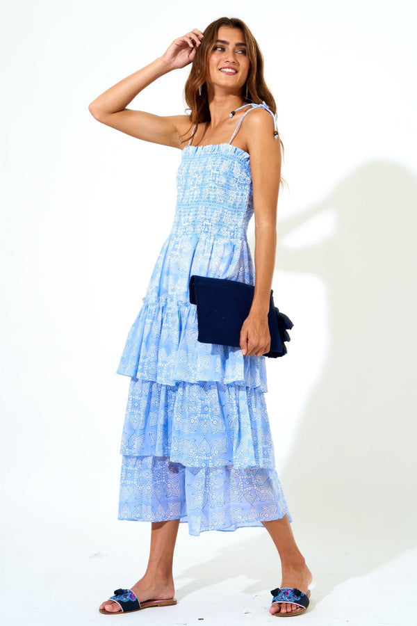 Tie Strap Smocked Midi Dress- Tigerlily Blue