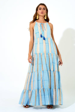 Long Tiered Tassel Dress- Tulum Blue Gold