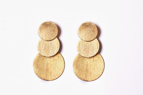 Hand Brushed Disc Triple Drop Earrings