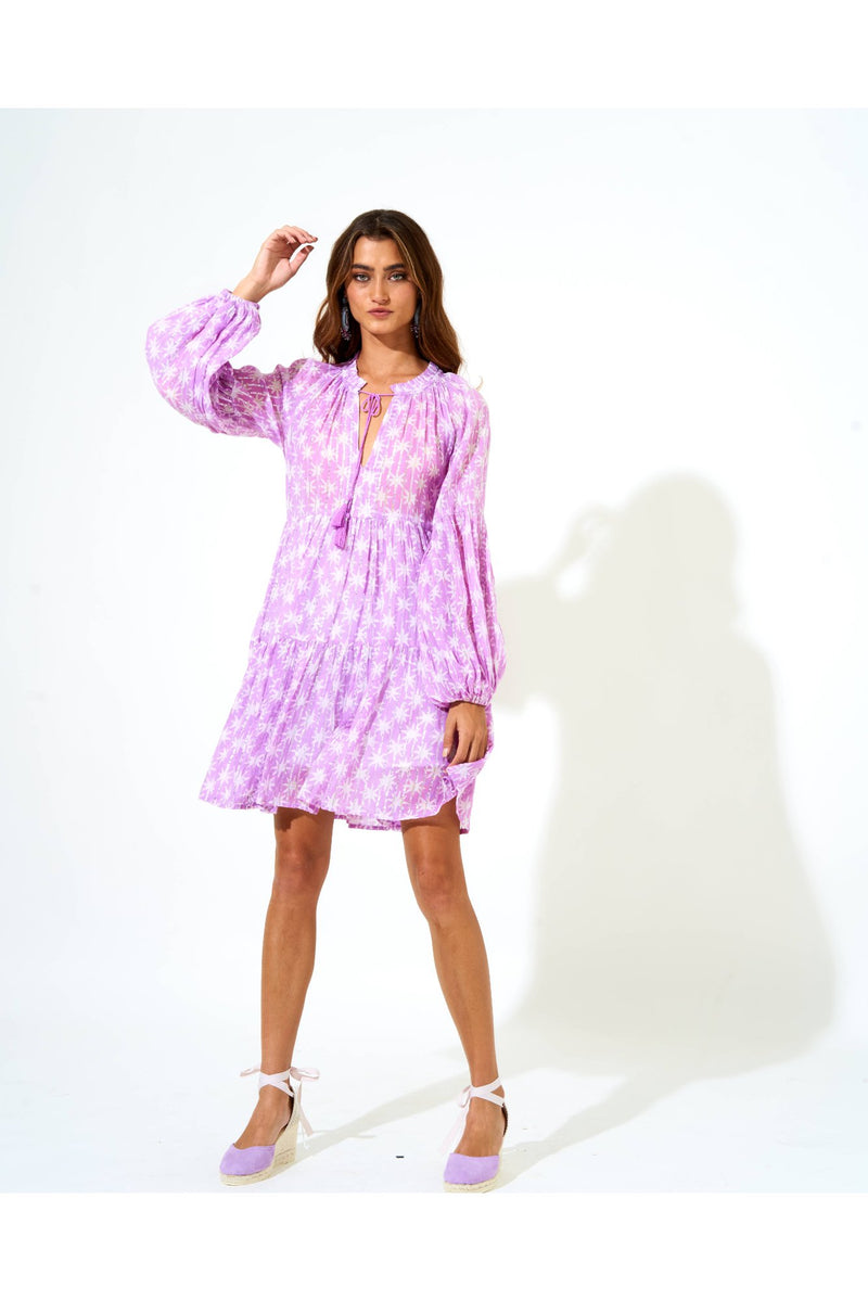 Balloon Sleeve Short Dress- Virgo lilac
