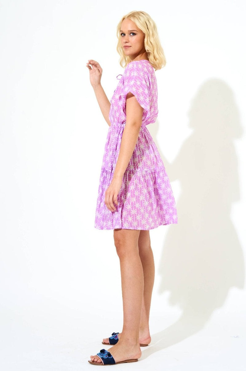 Side Tie Tassel Dress- Virgo Lilac