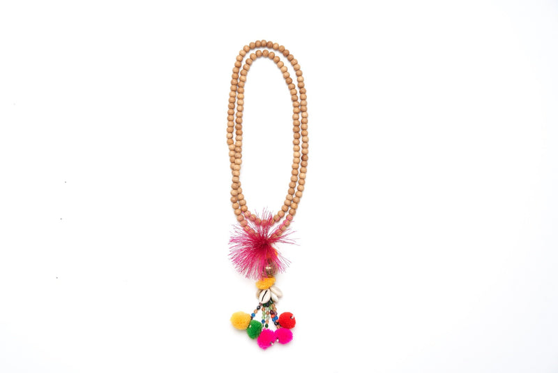 Wood Pom Pom Tassel Necklace