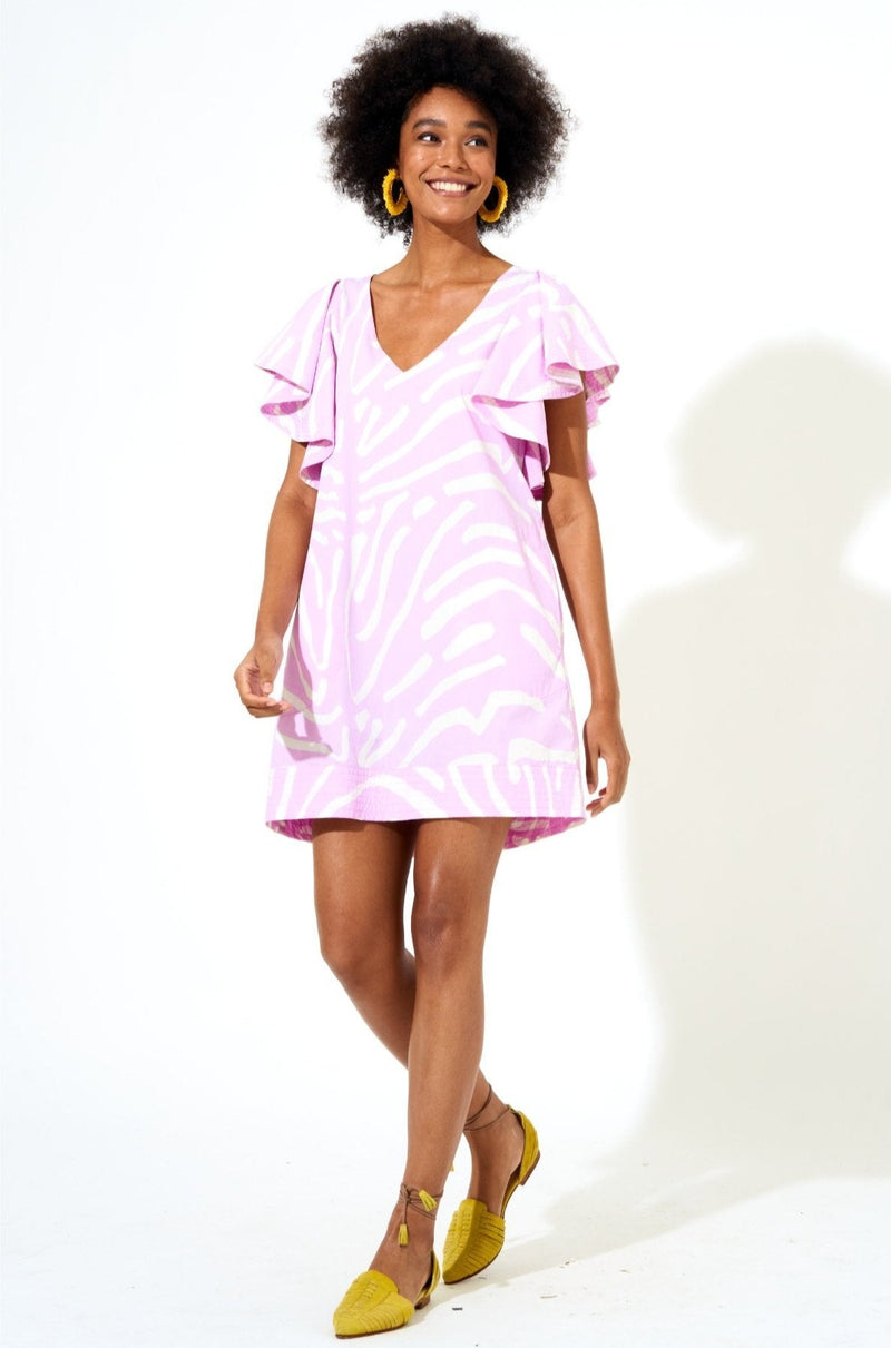 Flirty V-Neck Short Dress- Zebra Lilac
