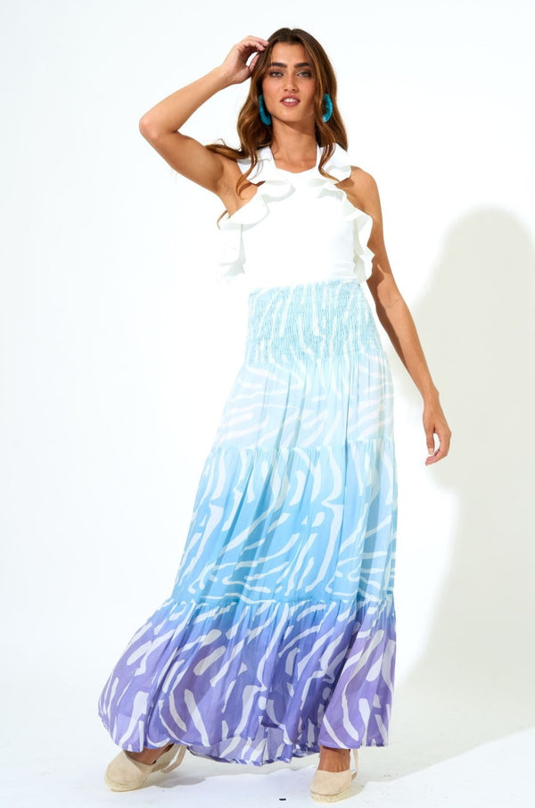 Smocked Skirt Dress Midi- Zebra Ombre Blue