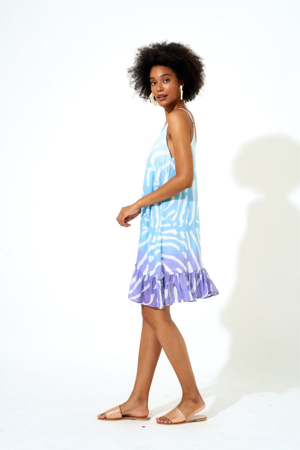 Slip Dress- Zebra Ombre Blue