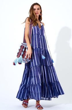 Long Tiered Tassel Dress- Zedi Blue