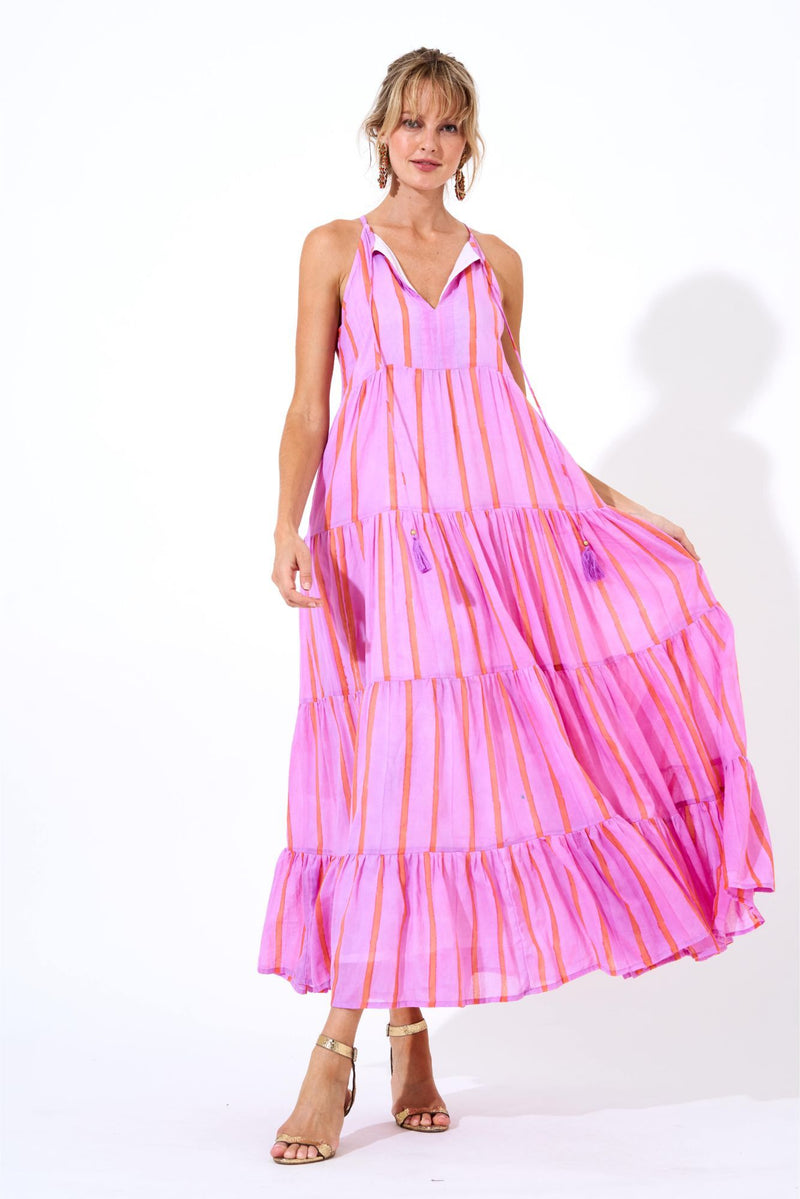 Long Tiered Tassel Dress- Zedi Lilac