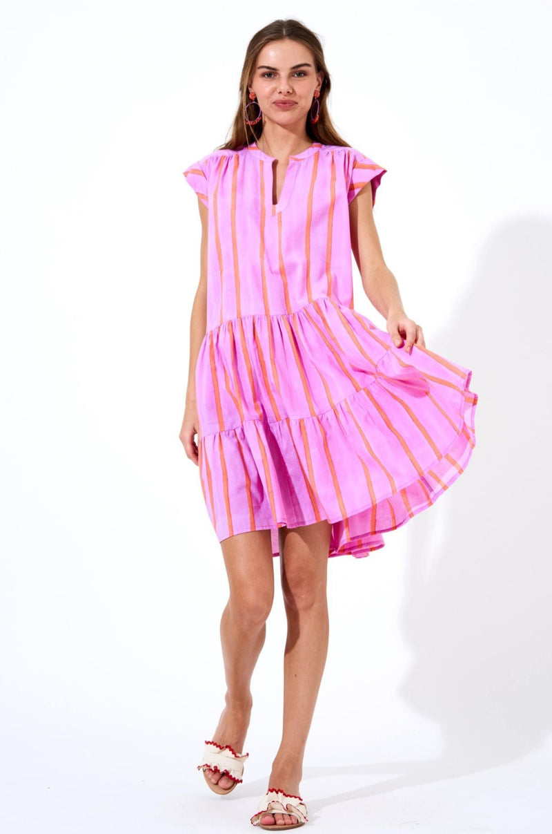 Roll Sleeve Dress- Zedi Lilac
