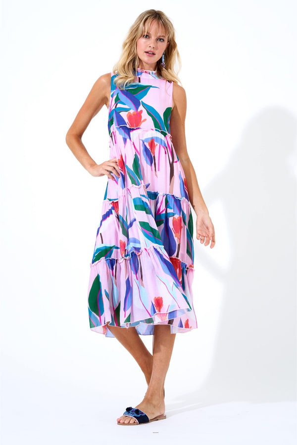 Ruffle Tiered Midi Dress - Botanica Pink