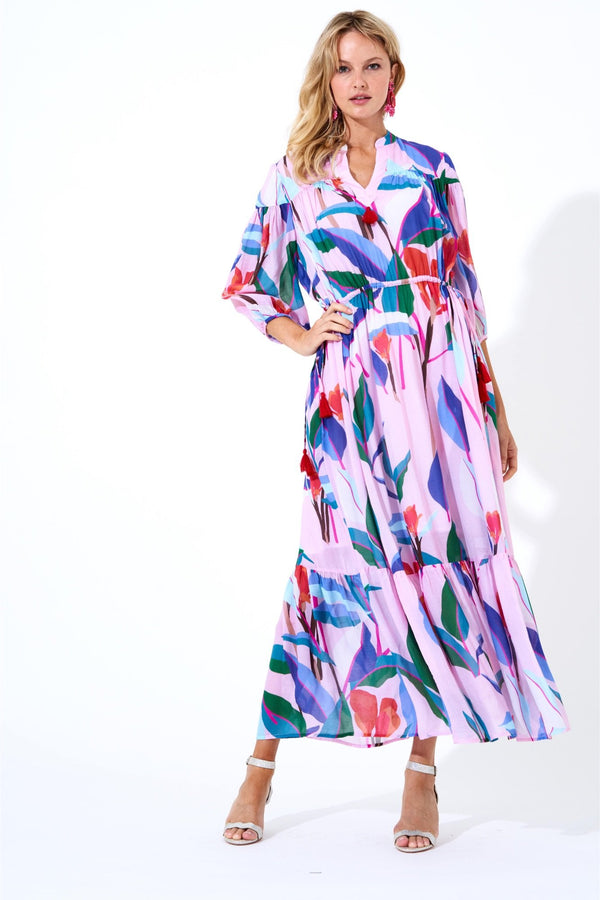 Cinched Waist Maxi Dress- Botanica Pink