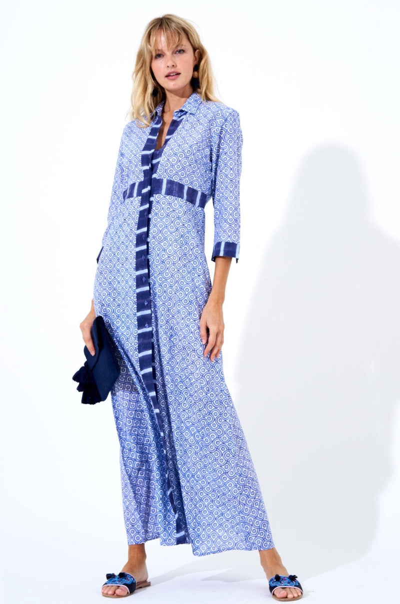 Shirt Dress Maxi- Tetris Blue