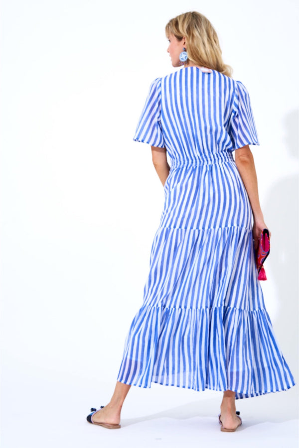 Short Sleeve Maxi Dress- Nassau Periwinkle