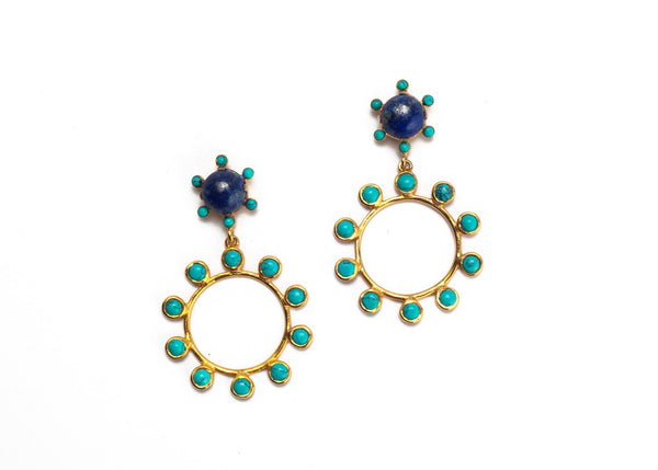 Wheel Double Drop Earrings