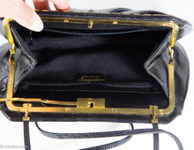 Load image into Gallery viewer, VINTAGE AUTHENTIC JUDITH LEIBER BLACK KARUNG REPTILE SHOULDER/CLUTCH BAG