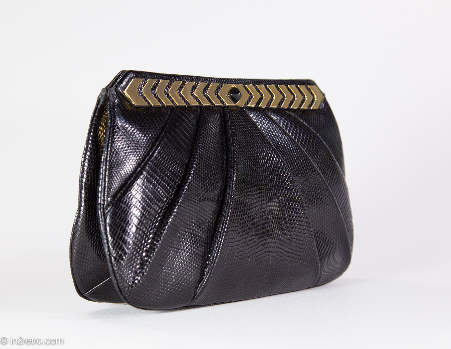 VINTAGE AUTHENTIC JUDITH LEIBER BLACK KARUNG REPTILE SHOULDER/CLUTCH BAG