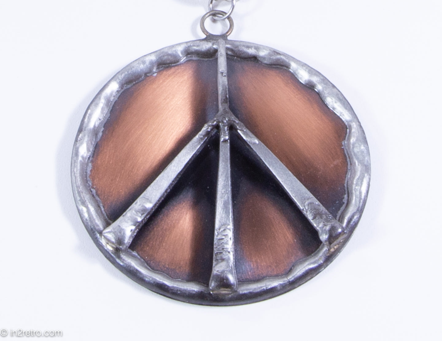 VINTAGE 1960'S | SWANK 2 TONE PEACE SIGN MEDALLION CHAIN NECKLACE