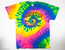 Load image into Gallery viewer, PEACE, LOVE & MUSIC 50TH ANNIVERSARY OF WOODSTOCK TIE DYED T-SHIRT ADULT'S SIZE MEDIUM