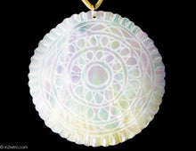 Load image into Gallery viewer, VINTAGE ARTISAN DESIGNED ETCHED MOTHER OF PEARL CIRCLE PENDANT NECKLACE