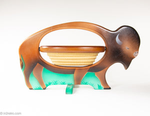 HAND CARVED HAND PAINTED BUFFALO/BISON BOWL WOODEN COLLAPSIBLE SPIRAL SCROLL SAW BASKET/BOWL