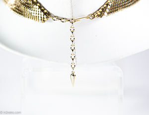 VINTAGE WHITING and DAVIS GOLDTONE 70'S METAL MESH BIB NECKLACE