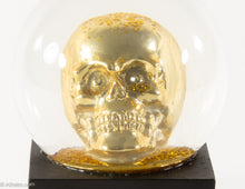 Load image into Gallery viewer, GLITTER/ BLING GOLD SKULL SNOWGLOBE ON BLACK WOOD BASE HALLOWEEN