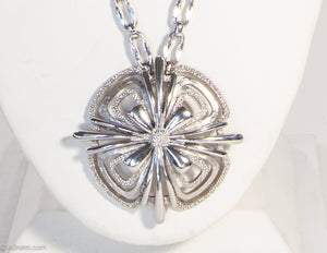 VINTAGE SIGNED MONET SILVERTONE PENDANT NECKLACE | LONG