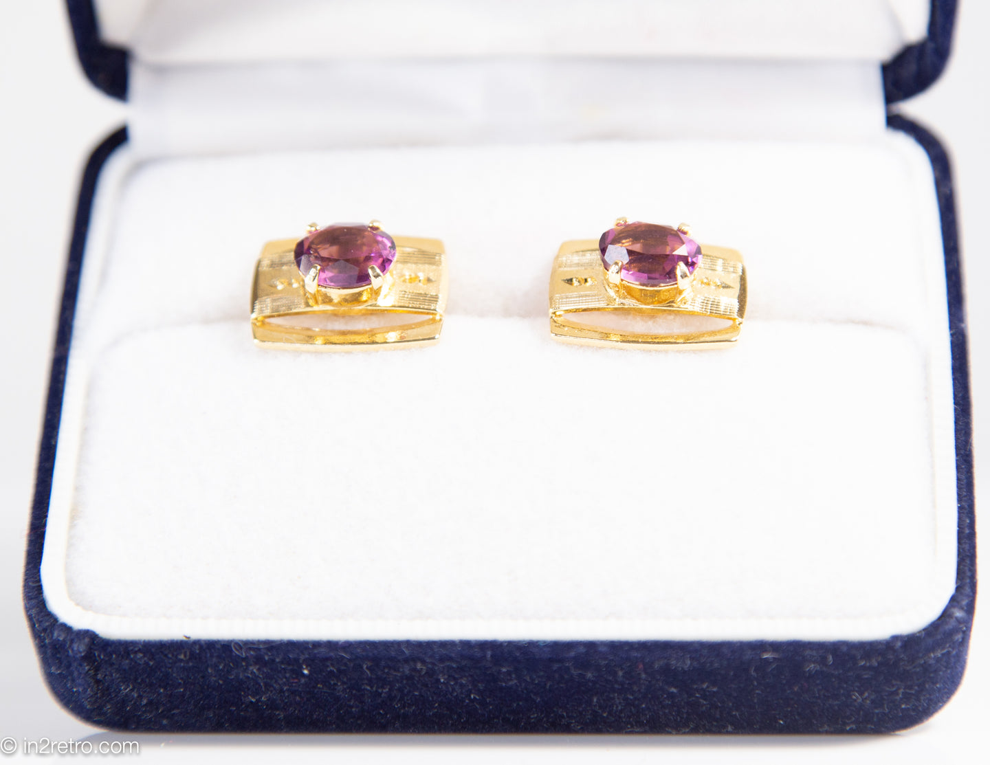 VINTAGE GOLDEN BRUSHED SHINY CUFFLINKS WITH PURPLE AMETHYST STONE | GIFT