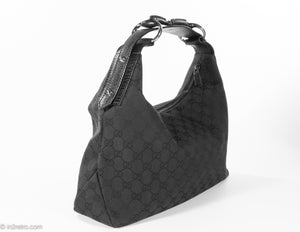 VINTAGE AUTHENTIC GUCCI LOGO BLACK CANVAS/LEATHER MEDIUM HORSEBIT HOBO BAG | GORGEOUS