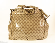 Load image into Gallery viewer, VINTAGE AUTHENTIC GUCCI LOGO GLOSSY CRYSTAL CANVAS HYSTERIA TOTE/SHOPPER BAG