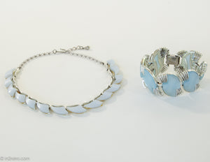 VINTAGE 1950'S CORO BLUE MOONGLOW THERMOSET NECKLACE AND BRACELET SET | RARE