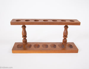 VINTAGE WOODEN PIPE RACK HOLDER STAND HOLDS 7 PIPES
