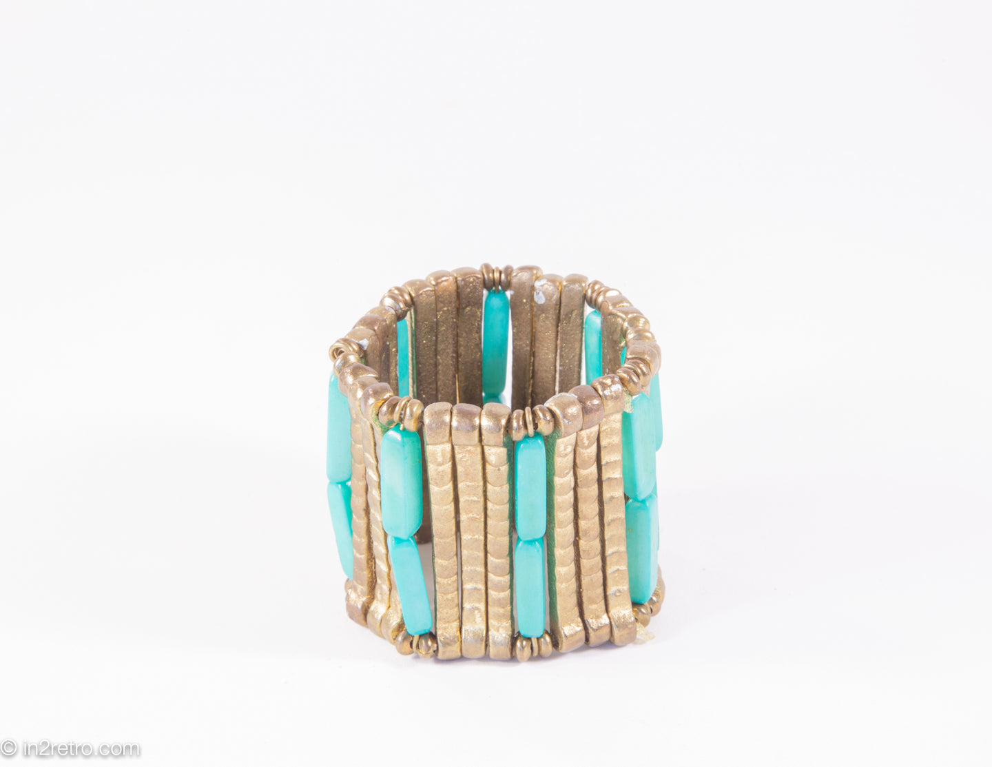 VINTAGE BURNISHED METAL AND FAUX TURQUOISE BEADS STRETCH BRACELET