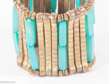 Load image into Gallery viewer, VINTAGE BURNISHED METAL AND FAUX TURQUOISE BEADS STRETCH BRACELET