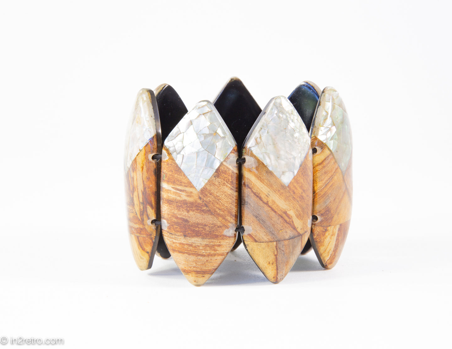 VINTAGE WOOD-TONES RESIN AND ABALONE POINTED OVALS STRETCH BRACELET