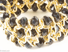 Load image into Gallery viewer, VINTAGE GOLDTONE JET-COLOR BEAD STRETCH BRACELET